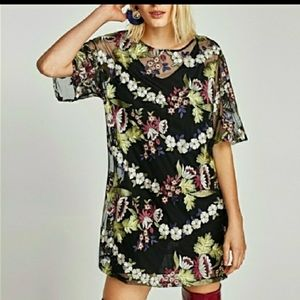 Zara Embroidered Floral Mesh Dress